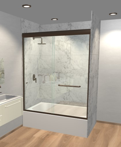 Semi-Frameless Sliding Bathtub Doors