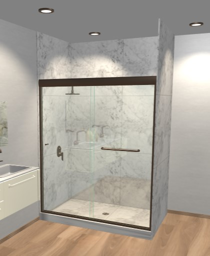 Semi-Frameless Sliding Shower Doors