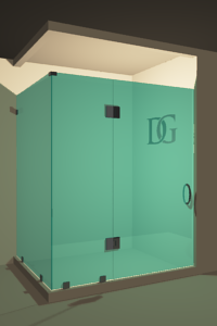 Right Open Corner Shower Door with Glass-to-Glass Hinge