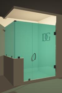 Left Open Corner Shower Door with Left Knee Wall