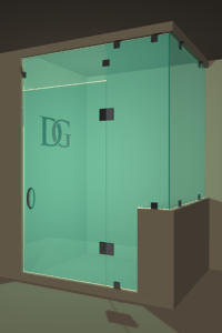 Left Open Corner Shower Door with Right Knee Wall, Steam Shower Transom & Glass-to-Glass Hinge