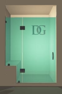 Right Open Door & Panel Shower Door with left knee Wall