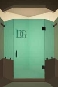 Left Open Neo Angle Shower Door with Two Knee Walls