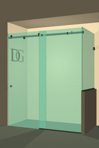 Left Open Quadro Sliding Shower Door with Right Knee Wall