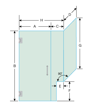 Right Open Corner Shower Door with Right Knee Wall
