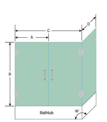 Double Swinging Right Corner Bathtub Door