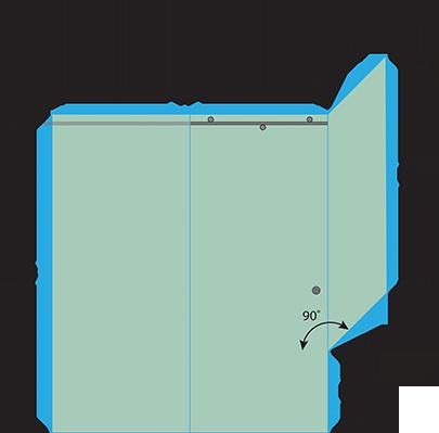 Left Open Metro Sliding Shower Door with Right Knee Wall