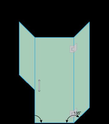 Left Open Neo Angle Shower Door with Left Knee Wall