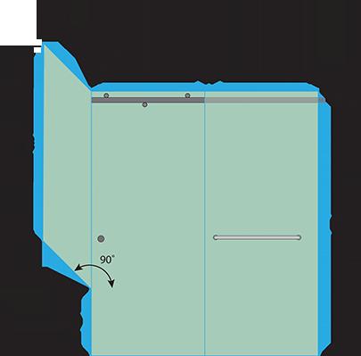 Right Open Quadro Sliding Corner Shower Door with Left Knee Wall