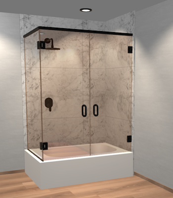 Double Swinging Left Corner Bathtub Door