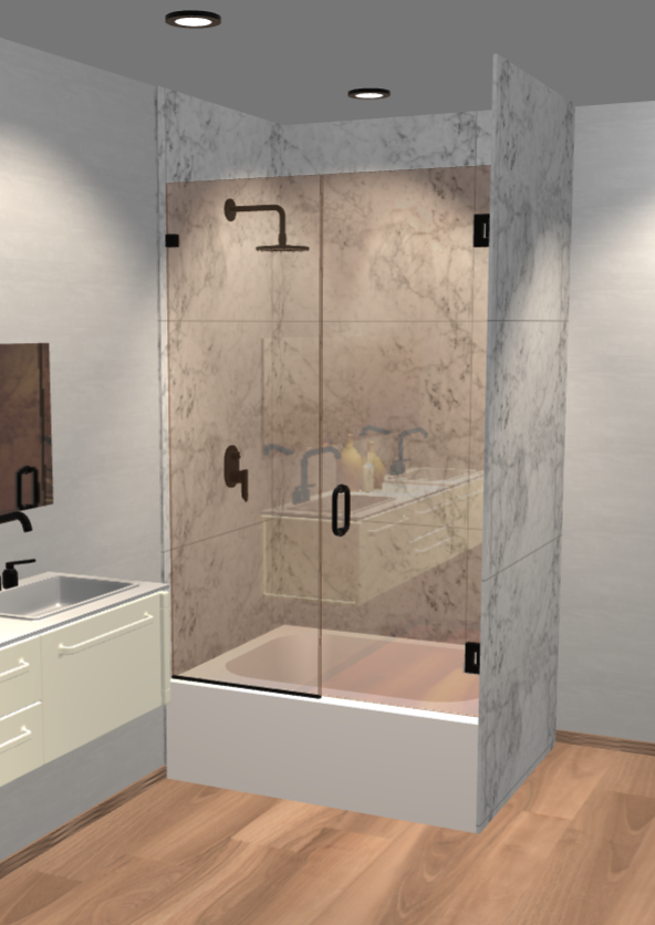 Left Open Single Swinging Bathtub Door