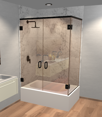 Double Swinging Right Corner Bathtub Door