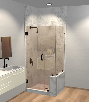 Right Open Corner Shower Door with Right Knee Wall