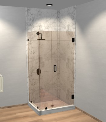 Left Open Corner Shower Door