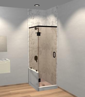 Right Open Corner Shower Door with Left Knee Wall