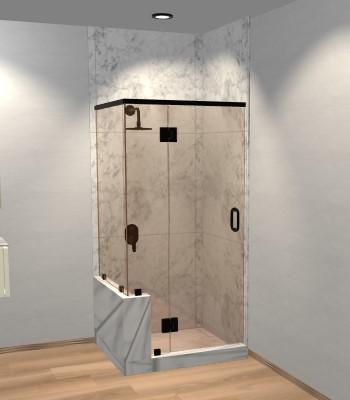 Right Open Corner Shower Door with Left Knee Wall & Glass-to-Glass Hinge