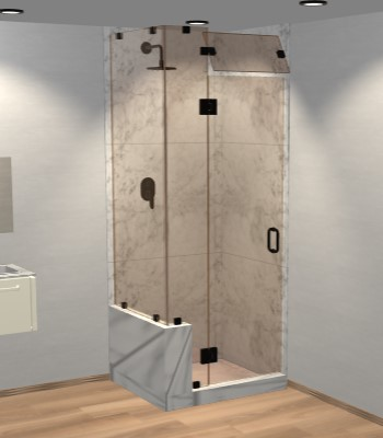 Right Open Corner Shower Door with Left Knee Wall, Steam Shower Transom & Glass-to-Glass Hinge