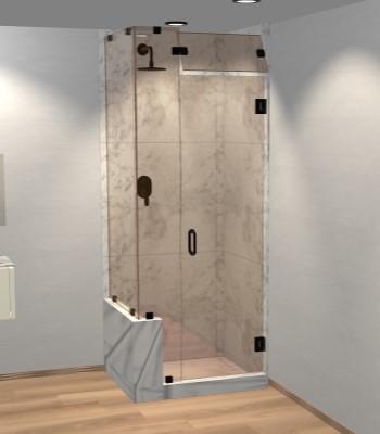 Left Open Corner Shower Door with Left Knee Wall & Steam Shower Transom