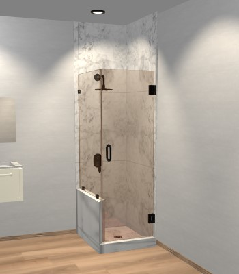Left Open Corner Shower Door with Left Knee Wall