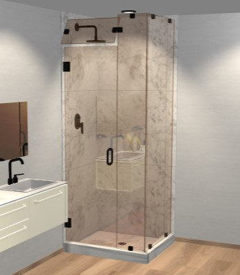 Right Open Corner Shower Door with Steam Shower Transom