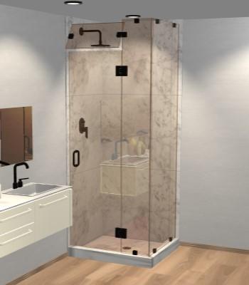 Left Open Corner Shower Door with Steam Shower Transom & Glass-to-Glass Hinge