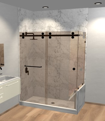 Eclipse Double Sliding Shower Door with Right Knee Wall