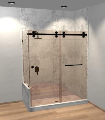 Eclipse Double Sliding Corner Shower Door with Left Knee Wall