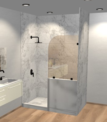 Left Open Single Shower Round Screen with right knee Wall