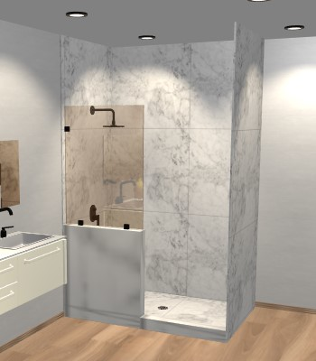 Right Open Single Shower Screen with left knee Wall