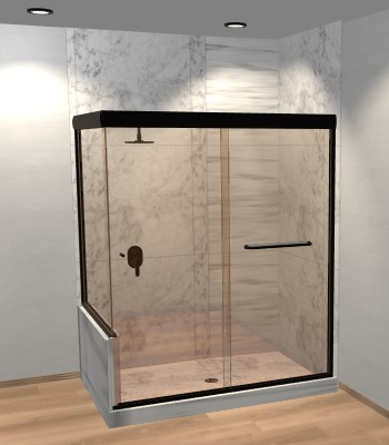 Linear Corner Sliding Shower Door with Left Knee Wall