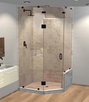 Right Open Neo Angle Shower Door with Right Knee Wall & Steam Shower Transom