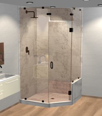 Left Open Neo Angle Shower Door with Right Knee Wall & Steam Shower Transom
