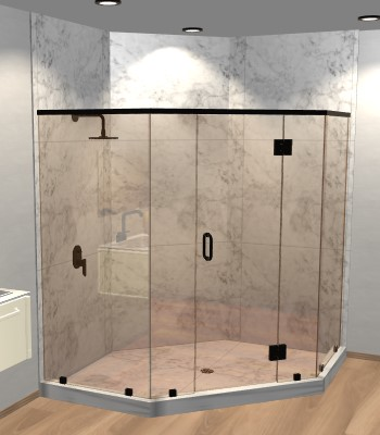 Left Open Neo Angle Shower Door
