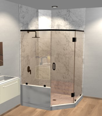 Left Open Neo Angle Shower Door with Left Knee Wall