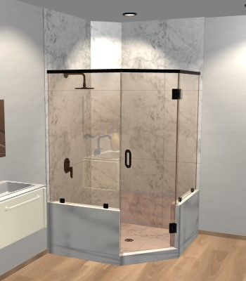Left Open Neo Angle Shower Door with Two Knee Walls