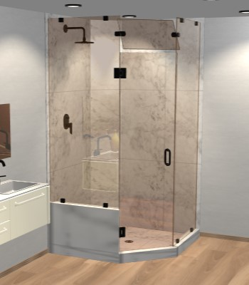 Right Open Neo Angle Shower Door with Left Knee Wall & Steam Shower Transom