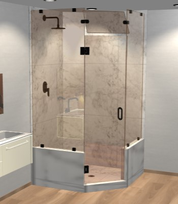 Right Open Neo Angle Shower Door with Two Knee Walls & Steam Shower Transom