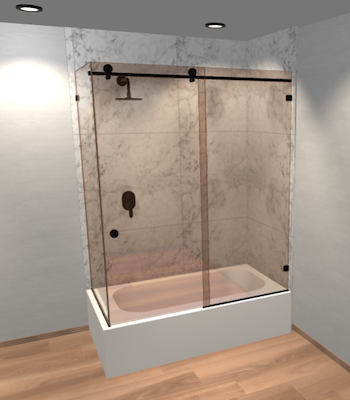 Right Open Metro Sliding Corner Bathtub Door