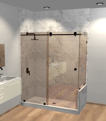 Left Open Metro Sliding Shower Door with Right Knee Wall