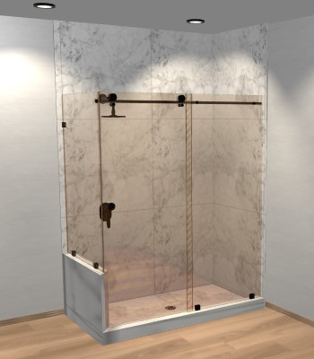 Right Open Metro Sliding Corner Shower Door with Left Knee Wall