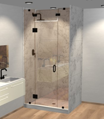 Right Open Door & Panel Shower Door with Steam Shower Transom
