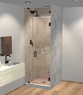 Left Open Door & Panel Shower Door with Steam Shower Transom