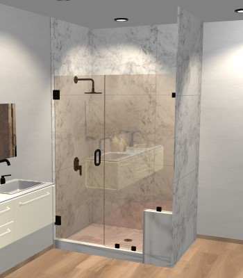 Right Open Door & Panel Shower Door with Right Knee Wall