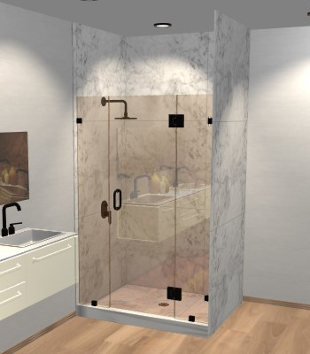 Left Open Door & Panel Shower Door