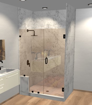 Left Open Door & Panel Shower Door with Left Knee Wall