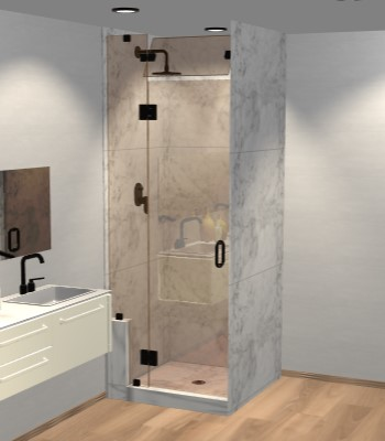 Right Open Door & Panel Shower Door with Left Knee Wall & Steam Shower Transom