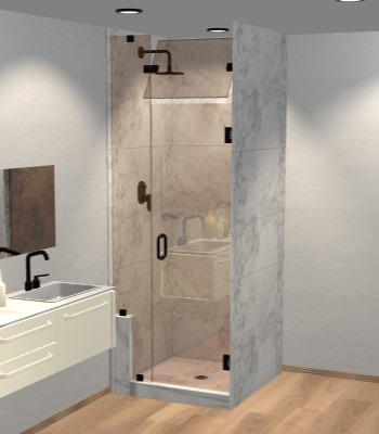 Left Open Door & Panel Shower Door with Left Knee Wall & Steam Shower Transom