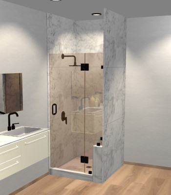 Left Open Door & Panel Shower Door with Right Knee Wall