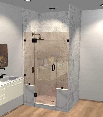 Right Open Door & Panel Shower Door with Two Knee Walls