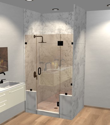 Left Open Door & Panel Shower Door with Two Knee Walls